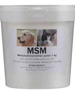 Veterinary MSM is important for common soft parts such as muscles, tendons and ligaments. Treatment with MSM no harmful side effects on your dog and cat.